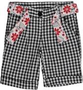 Losan Meisjeskleding - Zwart wit geruite korte broek met riem - 216-9009(83) - Maat 92