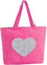 Zilveren hart glitter shopper tas - fuchsia roze - 47 x 34 x 12,5 cm - boodschappentas / strandtas
