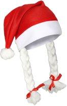 Benza Kerstmuts met vlechten - Rood