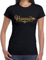 Hawaii gouden glitter tekst t-shirt zwart dames M