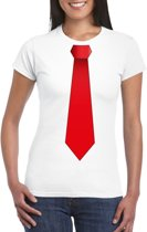 Wit t-shirt met rode stropdas dames 2XL
