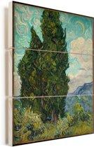 Landschap met cipressen - Schilderij van Vincent van Gogh Vurenhout met planken 30x40 cm - klein - Foto print op Hout (Wanddecoratie)