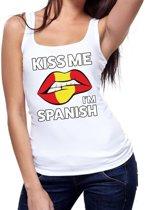 Kiss me I am Spanish tanktop / mouwloos shirt wit dames - feest shirts dames - Spanje kleding M