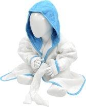 ARTG Babiezz® Baby Badjas met Capuchon Wit - Zeeblauw  - Maat  68-74