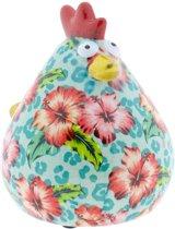 Kip Matilda spaarpot | Kip - Pastelblauw met tropische bloemen | Pomme pidou