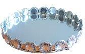 Decoratie tray / dienblad met spiegel IRIS - Zilver - Diamant - Ø 24 x H 4 cm - Rond - Maat M