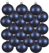 18x Donkerblauwe glazen kerstballen 6 cm - Mat/matte - Kerstboomversiering donkerblauw