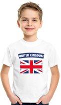 Engeland t-shirt met Groot Brittannie vlag wit kinderen XS (110-116)
