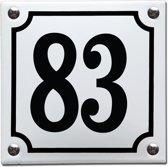 Emaille huisnummer wit/zwart nr. 83