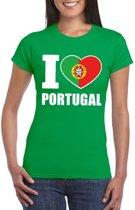 Groen I love Portugal fan shirt dames S