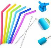 Esos® - 6x siliconen rietjes herbruikbaar - BPA vrij, veilig voor kinderen, 25cm, Eco friendly, bescherm je tanden en verminder plastic afval, met schoonmaakborsteltje
