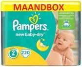 Pampers New Baby Dry Maat 2 - 220 Luiers Maandbox