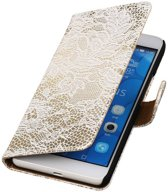 Huawei Honor 6 Plus Lace Kant Booktype Wallet Hoesje Wit - Cover Case Hoes