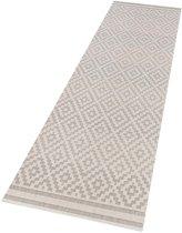 Vloerkleed - In&outdoor - Bougari Raute - Grijs,creme - 80x200cm geweven