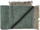 Plaid groen wol visgraat, grote maat ook als deken voor eenpersoonsbed
