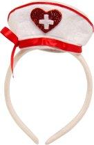 Verpleegster hoed op haarband voor volwassenen - Verkleedattribuut