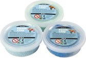 Foam Clay® Sets, 3x14 gr, blauw, lichtblauw, groen