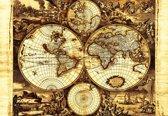 Fotobehang World Map Vintage | XL - 208cm x 146cm | 130g/m2 Vlies