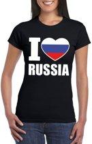 Zwart I love Rusland fan shirt dames XS