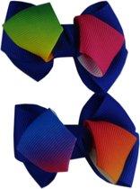 Jessidress Haarclips met regenboog kleuren strik - Blauw