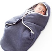 Babydeken Coco, wikkeldeken en wrapper, pasgeboren tot 10 maanden, zacht katoen, 85 * 85 cm, Gestreept / Misty blauw
