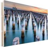 Princes Pier in Melbourne in Australië Vurenhout met planken 120x80 cm - Foto print op Hout (Wanddecoratie)
