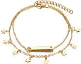 Joboly Ster bar enkelbandje - Dames - Goudkleurig - 20 cm