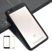 Teleplus Xiaomi Redmi 4A Double Color Silicone Case Black + Full Covering Glass hoesje