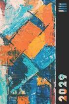 2029: Orange & Blue Abstract Weekly Calendar Planner Organizer