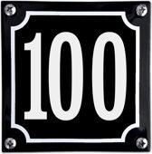 Zwart emaille huisnummer  - 100