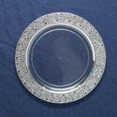 Deluxedisposables- Luxe wegwerpbord - 23 cm - transparant-zilver - 10 stuks