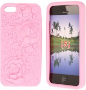 Special Jelly Hoesje iPhone 5 Light Pink Flower
