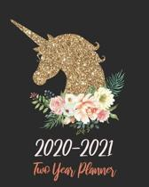 Two Year Planner 2020-2021: Gold Unicorn, January 2020 to December 2021 Monthly Calendar Agenda Schedule Organizer (24 Months) With Holidays and i