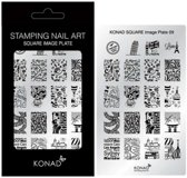 KONAD Square nagel stempelplaat 09 met 20 nagel stempel motieven.