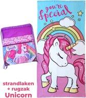 Eenhoorn strand handdoek 70x140 | kinder rugzak meisje | armband Unicorn | KMBS011