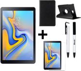 Samsung Galaxy Tab A 10.5 (2018) T590 32GB Wifi Zwart + 360 graden draaibaar hoes Zwart + Tempered glass + 4 in 1 stylus pen