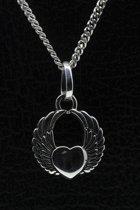 Zilveren Hart met vleugels ketting hanger