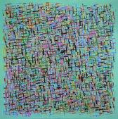 Schilderij abstract strepen 80x80 Artello - Handgeschilderd