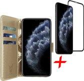 iPhone 11 Pro Max Hoesje + Screenprotector Full Screen - Book Case Portemonnee - iCall - Goud