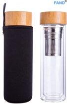 Thermo Theefles dubbelwandig 400 ml - Theebeker met zeef - Theefles met filter - Waterfles van glas - Drinkfles - Theeglas - Zwart.