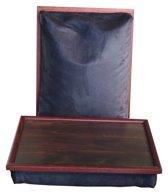 Margot Steel laptray/schoottafel effen zwart/suede mahonie - 41 x 31 10 cm