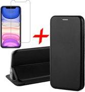iPhone 11 Hoesje + Screenprotector Case Friendly - Book Case Flip Wallet - iCall - Zwart