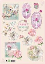 Hobby wenskaartenpakket - Marianne Design decoupage x1 rose garden 2 - 10 stuk