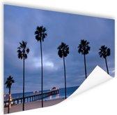 Manhattan beach zeezicht Poster 120x80 cm - Foto print op Poster (wanddecoratie)
