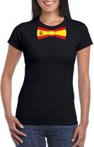 Zwart t-shirt met Spanje vlag strikje dames 2XL