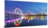 Weerspiegeling van Shenyang en de brug in het water Aluminium 80x40 cm - Foto print op Aluminium (metaal wanddecoratie)