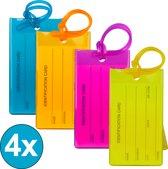 TravelSky Kofferlabel - Siliconen Bagagelabel voor Koffers en Bagage - Reislabel - 4 Stuks – 4 Willekeurige Kleuren