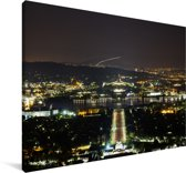 Het Australische parlementsgebouw verlicht in de nacht Canvas 180x120 cm - Foto print op Canvas schilderij (Wanddecoratie woonkamer / slaapkamer) XXL / Groot formaat!