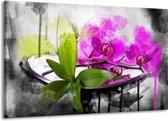 Canvas schilderij Orchidee   Paars, Groen, Wit   140x90cm 1Luik