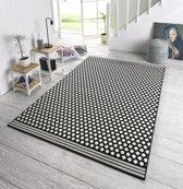 Design vloerkleed gestippeld Capri - zwart/crème 160x230 cm